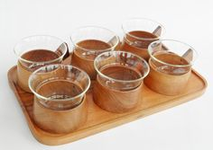 Tea service teak serving tray six glasses party dish retro vintage cup scandinavian design west german brown wood schott mainz jena glass