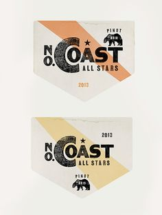 North Coast All Stars. Pinot Noir and Pinot Gris Wine Labels. Designed by Gerald Lewis.
