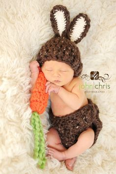 Baby Bunny Hat Newborn Photo Prop Set Easter Rabbit by lilianda, via Etsy. Lori, Lisa and Lenee, your babies will be perfect for this!!