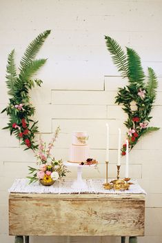 Dessert Table with Fern Florals | Botanical | Wedding Inspiration | Wedding Idea http://www.ambersnow.com – ruffledblog.com/austin-botanical-inspired-shoot