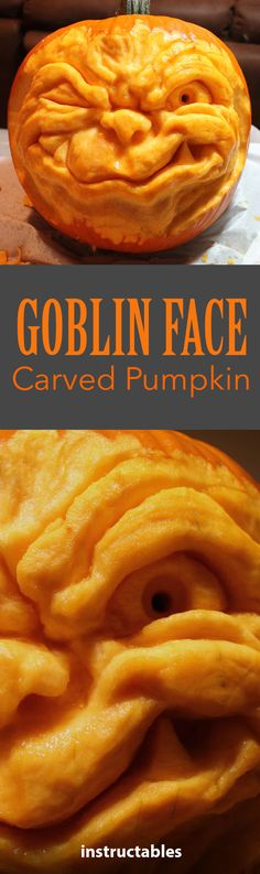 Step-by-step instructions to make your own goblin face pumpkin!