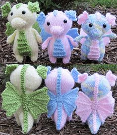 Crochet Stuffed Dolls Ravelry: Mini Baby Dragon pattern by Ashley Collings. Look at their little wings! - EDIT: Make some corrections and added some links of tutorials of techniques that I used on this pattern. Hope it is helpful! Diy Tricot Crochet, Knit Or Crochet, Cute Crochet, Crochet Crafts, Yarn Crafts, Crochet Baby, Crotchet, Animal Knitting Patterns, Amigurumi Patterns
