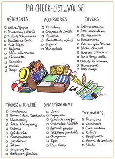 Check-list de valise (clothing, travel)