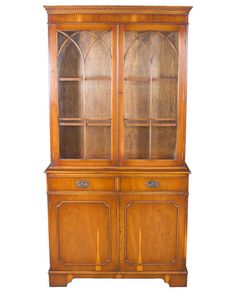Antique bookcase with glass door antique bookcase glass doors and yew wood two glass door bookcase planetlyrics Image collections