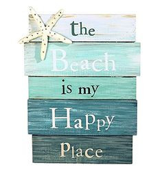 """The Beach is My Happy Place"" Aquamarine Plankboard with Starfish Decorative Sign - 12-in x 9-in Grassland Roads http://www.amazon.com/dp/B00LABJ6L2/ref=cm_sw_r_pi_dp_9Svbub1X5D75Z"