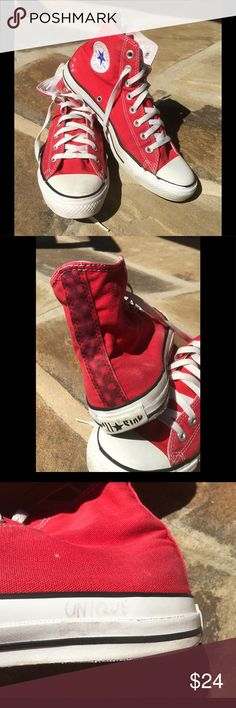 """Red High Top Converse These classic red high top Chucks are well worn.  Evidence of previous owners artistic flair show up in tasteful graffiti on back of right shoe.  Faint graffiti on white soles (""""unique, I don't break and how about that"""" on left shoe and """"yellow submarine and magic"""" on right shoe).  Tried to photographic all but it's very light. Light wear in heel area of soles. All Star label on backs show wear. With all of that said, do Converse ever wear completely out?  Still some…"""