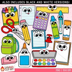 Cutie School Supplies The Clip Art - Schulmaterial - diyhome Kawaii Doodles, Cute Kawaii Drawings, Griffonnages Kawaii, School Suplies, Doll House Crafts, Drawing School, Crayon Box, Cute Clipart, Diy School Supplies