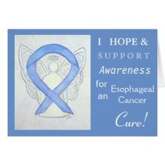 Esophageal Cancer Awareness Ribbon Periwinkle Angel Greeting Card