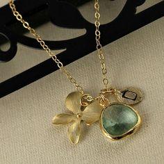 Gold Monogram Necklace Light Green by anatoliantaledesign on Etsy, $34.00