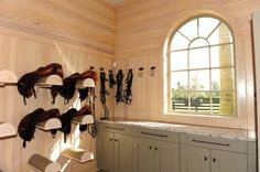 Pretty tack room, nice and light. Double H Farm - Wellington, FL - Ridgefield, CT