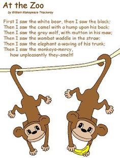 Cute example of a list poem - At the Zoo by William Makepeace Thackeray Zoo Activities Preschool, Preschool Lessons, Toddler Activities, Zoo Animal Activities, Poetry Activities, Time Activities, The Zoo, Zoo Songs, Zoo Animal Crafts