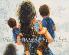Mother Two Sons and Daughter Art Print two boys and girl Mutterschaft Tattoos, Tattos, Hug Illustration, Mother Painting, Two Brothers, Blonde Boys, Mother Son, Boy Art, Photo Art