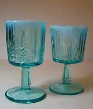 TWO KOKOMO OPALESCENT CARNIVAL  STEMMED GLASS GOBLETS -TURQUOISE BLUE