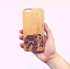 Elephant Henna Aztec Tribal Animal Wood Engraved Phone Case Cover