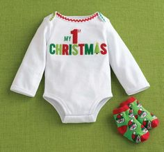 """Mud Pie """"My 1st Christmas"""" Crawler T and sock set (size 0-6 mos.) $24.99"""