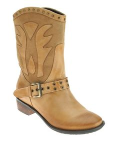 Loving this Natural Markie Leather Boot on #zulily! #zulilyfinds