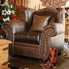 Cheyenne Armchair with a tooled leather look. LOVE!