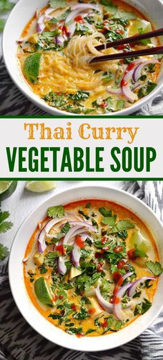 This Thai Curry Vegetable Soup is packed with vegetables, spicy Thai flavor, and creamy coconut milk. Ready in about 30 minutes! Thai Curry Vegetable Soup - Thai Curry Vegetable Soup is packed with vegetables, spicy Thai flavor, and creamy coconut milk. Clean Eating Vegetarian, Vegetarian Curry, Thai Vegetarian Recipes, Thai Curry Recipes, Vegan Thai Curry, Thai Curry Soup, Vegetable Soup Recipes, Thai Vegetable Curry, Healthy Vegetarian Recipes