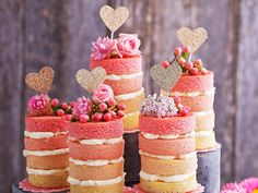 Sweet, cute and delicious. These mini rose pink ombre cakes are perfect for any special occasion, or to simply bake over the weekend! Recipe by The Australian Women's Weekly. Pink Ombre Cake, Striped Cake, Meringue Cake, Light Cakes, Ice Cake, Cake Mixture, Mini Roses, Recipe Collection, Let Them Eat Cake
