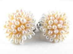 Luxurious Pearl Cluster Earrings Freshwater Pearls by hipcricket, $20.00