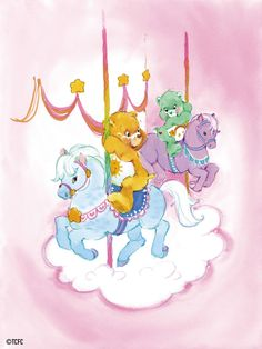cartoons party Care Bears: Funshine and Wish B - Carousel Tattoo, My Little Pony, Care Bear Tattoos, Care Bears Vintage, Care Bear Party, Pierrot, Bear Theme, Rainbow Brite, Bear Art