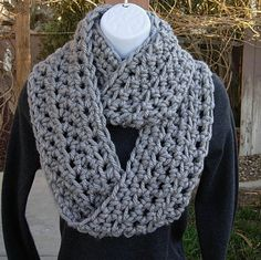 INFINITY SCARF Cowl Loop..Light Solid Grey Gray..100% Soft Bulky Acrylic..Thick Crochet Knit Winter Eternity Circle..Ready to Ship in 3 Days...