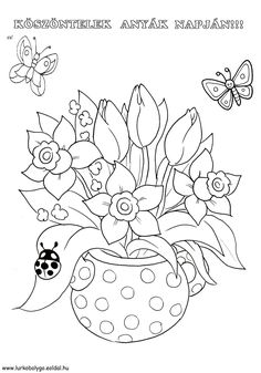 Spring Coloring Pages, Easter Colouring, Cat Coloring Page, Flower Coloring Pages, Coloring Book Pages, Coloring Pages For Kids, Coloring Sheets, Flower Art Drawing, Floral Drawing