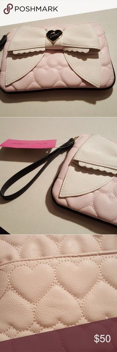 Betsey Johnson pink wristlet Cute bow..has slots on inside for cards Betsey Johnson Bags Clutches & Wristlets