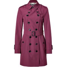 BURBERRY LONDON Boysenberry Technical Cotton-Blend Queensbury Trench... ($1,335) ❤ liked on Polyvore