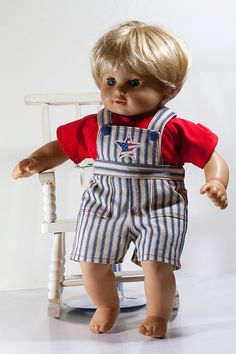 "Bitty Twins Clothes, July 4th Picnic Overalls and T Shirt - Fits most 15"" Dolls, Bitty Twins, Bitty Baby Boy Outfit"