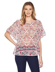e09c157a OneWorld Womens Plus Size Ruffle Short Sleeve Woven Peasant Top True  ExpressionTempted 1X * For more