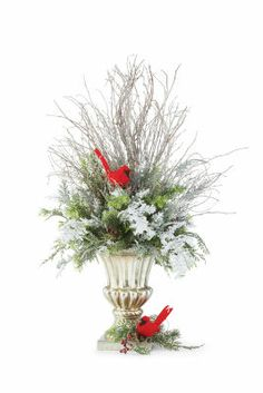 what a beautiful theme for x-mas! You can also make a matching wreath and add the cardinal with a beautiful red ribbon and a large bow.