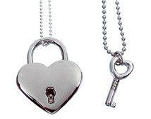 Argento cuore serratura e chiave coppie collana - vero e proprio lavoro Pendente lucchetto