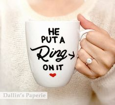 Personalized mug Engagement Gift Mug Hand by DallinsPaperie