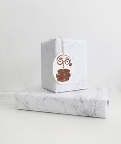 The Minimalist store x marble wrap and hipster santa gift tag