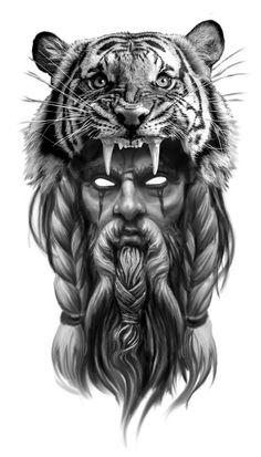 Tiger Tattoo Sleeve, Leg Tattoo Men, Sleeve Tattoos, Mens Tiger Tattoo, Mens Body Tattoos, Mens Shoulder Tattoo, Warrior Tattoos, Viking Tattoos, Tattoo Design Drawings