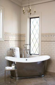Postcard from Paris Home : interior design, Greenville, SC Bad Inspiration, Bathroom Inspiration, Interior Design Inspiration, Design Ideas, French Bathroom, Small Bathroom, Master Bathroom, Bathroom Ideas, Bathtub Ideas