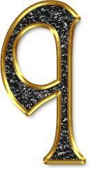 Alfabeto Negro con Orilla Dorada. Letras minúsculas. Letra q.