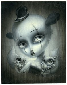 Clown Girl by Jason Jacenko Eyes Artwork, Cool Artwork, Amazing Artwork, Thing 1, Black And White Drawing, Creepy Cute, Pop Surrealism, Art For Art Sake, Disney Drawings