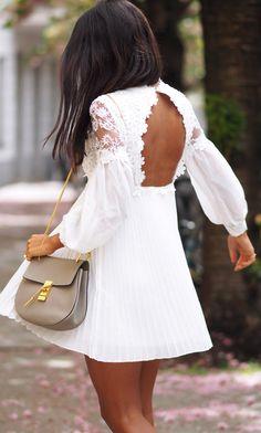 Victorian open back lace dress
