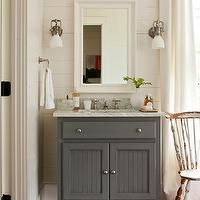 Southern Living - bathrooms - white, wood panels, white, beveled, mirror, gray, single bathroom vanity, marble, top, gray bathroom, gray bat...
