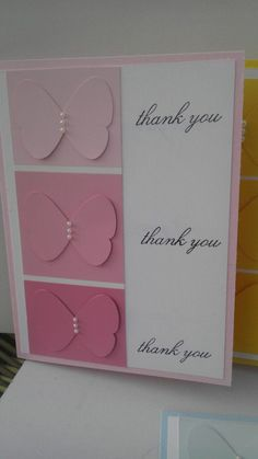 SALE Handmade Stamped Stampin Up Thank You Notecard Set of 4 Ombre Greeting Cards