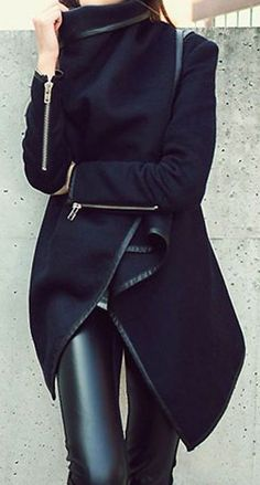 #fall #fashion / black coat + leather