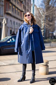 oversized coat with skinny jeans Street Style 2016, Street Style Blog, Street Look, Street Chic, Cool Street Fashion, Milan Fashion, Fashion Trends, Oversized Coat, Outerwear Women