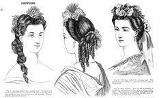 Hairstyles for a Grecian Ball; Godey's Lady's Book, July 1864. | In the Swan's…