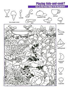 These printable hidden picture worksheets can entertain kids and the parents too! Below you will find some free printable hidden pictures that are going to be something your kids don't just like but love. Hidden Object Puzzles, Hidden Picture Puzzles, Hidden Objects, Puzzles For Kids, Worksheets For Kids, English Activities, Activities For Kids, Hidden Pictures Printables, Such Und Find