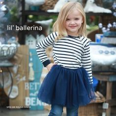 #REFRESH💖 Spin Me Round Dress Sizes: 3, 4, 5, 6, 7 Presale: $24.99  Retail $29.95 Colour: Navy and White Stripes    Brand: Sugar Littles  Round neck. Long sleeves with cuffs. Tulle bottom. Complete look: Spin Me Round Dress and Snow Angel Cable Knit Leggings.  Estimated Ship Date: November 15