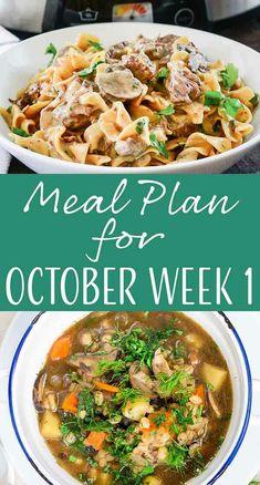 Here's your meal plan for October Week We've got Slow Cooker Beef Stroganoff, Stuffed Pork Chops, Mushroom Barley Soup, and MORE! Simply Recipes, Simply Food, Mushroom Barley Soup, Weekly Dinner Menu, Stuffed Pork, Beef Stroganoff, Good Healthy Recipes, Menu Planning, Pork Chops