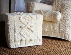 knitted-furniture-covers - I wonder how these would stand up to the dogs?