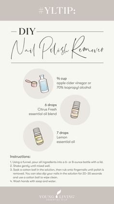 Lemon Essential Oils, Young Living Essential Oils, Essential Oil Diffuser Blends, Young Living Oils, Wellness, Oil Uses, Rubbing Alcohol, Nail Polish, Nail Care Tips